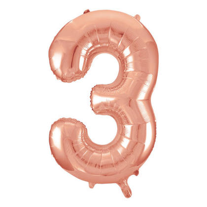 Ballon Aluminium Numéro 3 Or Rose 34