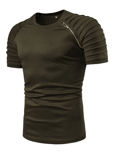 Milanoo T Shirt For Men Ruched Zipper Cotton Crewneck Short Sleeve T Shirt