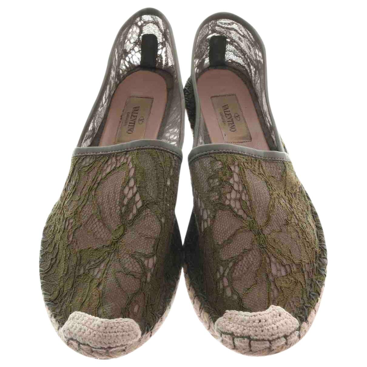 Valentino Garavani \N Khaki Leather Espadrilles for Women 39 EU
