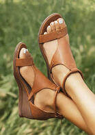 Round Toe Zipper Wedged Sandals