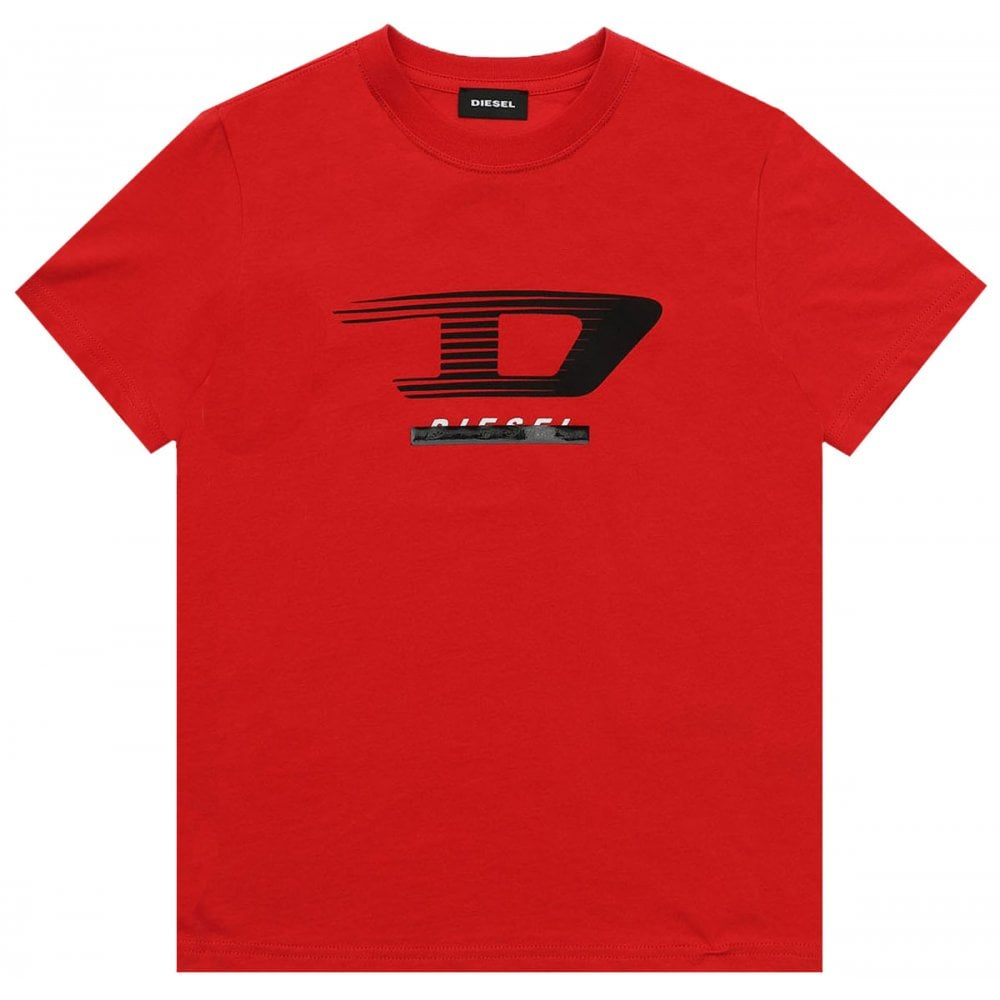 Diesel D Print T-shirt Colour: RED, Size: 12 YEARS