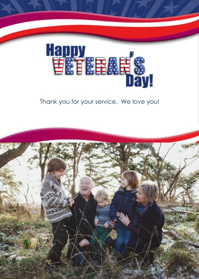 Veteran's Day Cards 5x7 Cards, Premium Cardstock 120lb with Scalloped Corners, Card & Stationery -Waving in the Wind