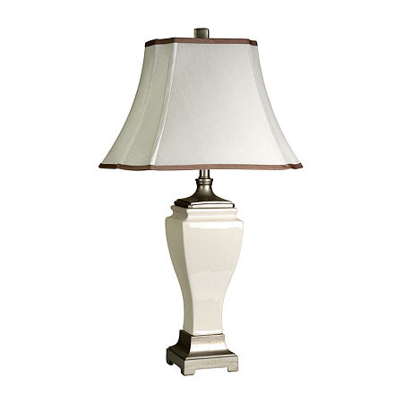 Stylecraft Cream Crackle Ceramic Table Lamp, One Size , White