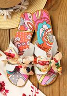 Summer Polka Dot Star Bowknot Round Toe Flat Slippers