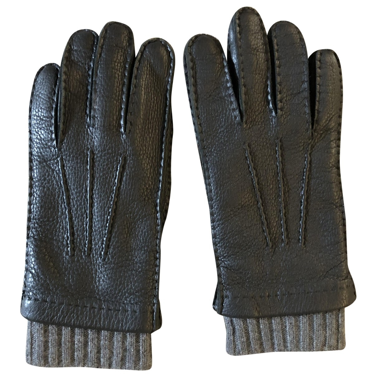 Malo \N Black Leather Gloves for Men 8 Inches