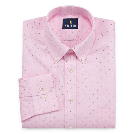 Stafford Mens Non-Iron Cotton Pinpoint Oxford Big and Tall Dress Shirt, 19 38-39, Pink