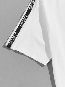 Men Letter Tape Sleeve Top