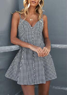 Plaid Printed Button Spaghetti Strap Mini Dress without Necklace