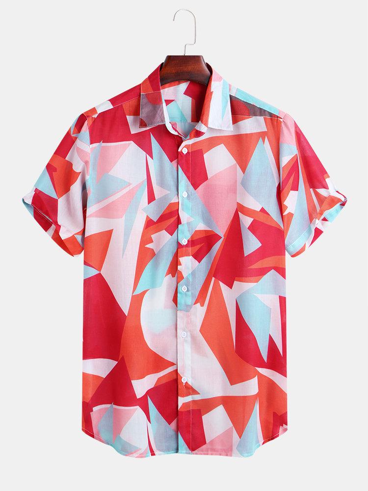 Mens Geometric Patchwork Printed Casual Short Sleeve Loose Casual Shirt
