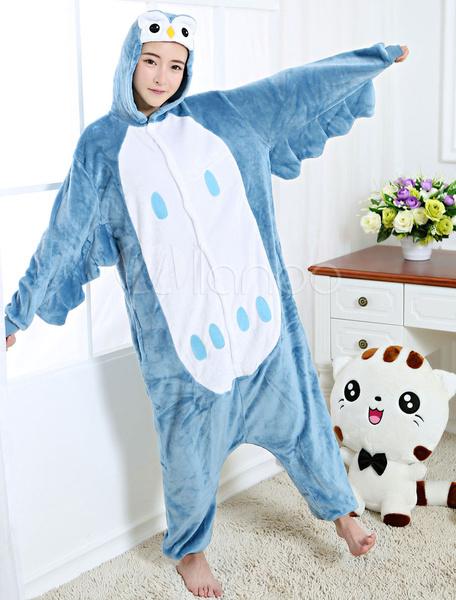 Milanoo Kigurumi Pajamas Owl Onesie Cyan Flannel Animal Winter Sleepwear For Adult Unisex Back With Zipper Costume Halloween