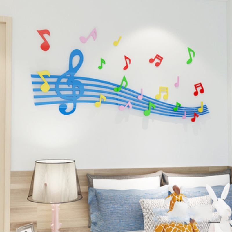 Blue Staff Pattern Acrylic Material Living Room 3D Wall Sticker