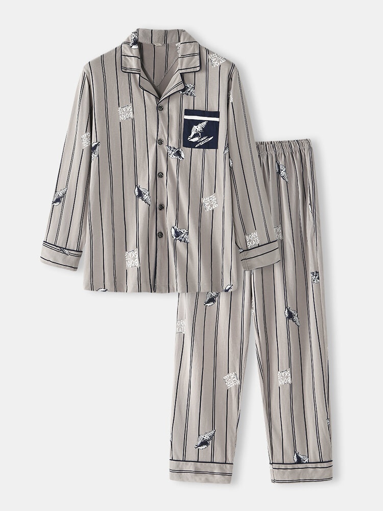 Pure Cotton Conch Print Casual Striped Pajamas Sets Comfy Chest Pockets Long Sleeve Loungewear
