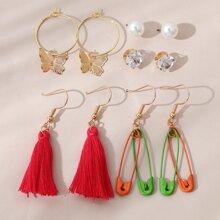 5pairs Tassel Decor Drop Earrings