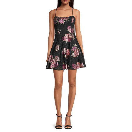 City Triangle-Juniors Sleeveless Floral Lace Fit & Flare Dress, 0 , Pink