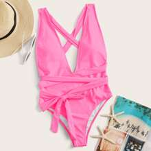 Crisscross Knot Front One Piece Swimsuit