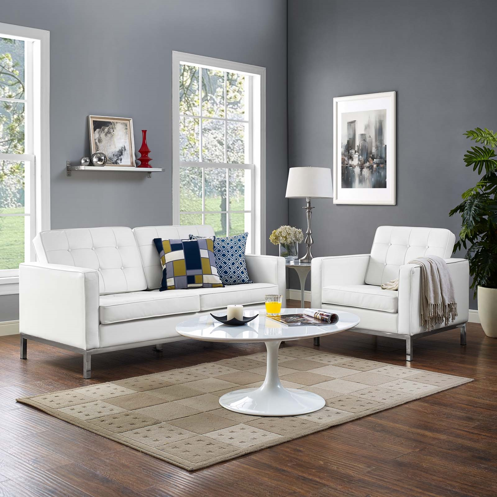 Loft 2 Piece Leather Loveseat and Armchair Set in Cream White