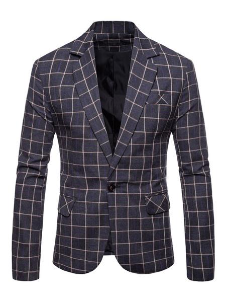 Milanoo Men Casual Blazer Checkered Pattern Notch Collar One Button Blazer Jacket