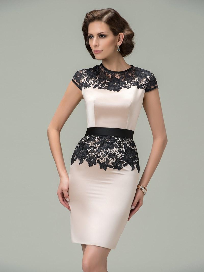 Sheath Jewel Cap Sleeves Lace Cocktail Dress