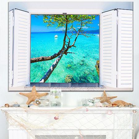 Designart Open Window To Gorgeous Seashore Canvas Art, One Size , Blue