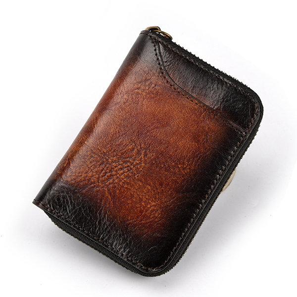Vintage Genuine Leather RFID 12 Card Slots Wallet Card Holder For Men