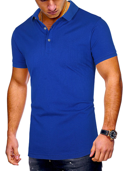 Milanoo Mens Polo Shirt Turndown Collar Short Sleeves Buttons Polo Shirts