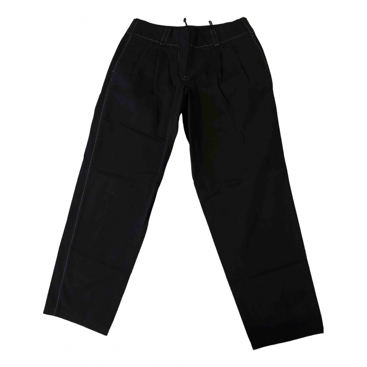 Jil Sander \N Black Cotton Trousers for Women 38 FR