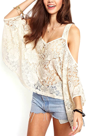 Yoins White Hollow Lace Loose Blouse