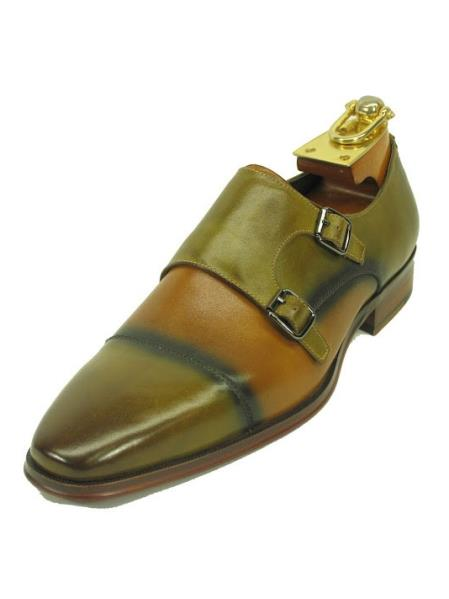 Men's Lawn Tan Fashionable Slip On Two Buckle Style Shoes