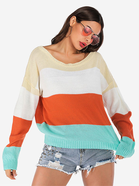 Milanoo Pullovers For Women Orange Red Striped Jewel Neck Long Sleeve Sweaters