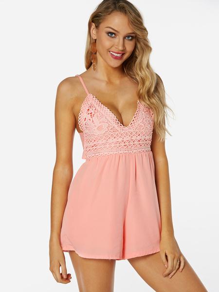 Yoins Pink Backless Design Plain V-neck Sleeveless Stretchy Waist Playsuits