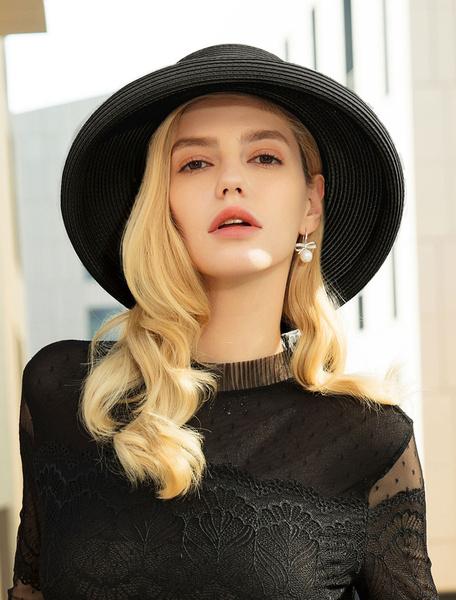 Milanoo Summer Straw Hat Ecru White Sun Hat Bows Women Costume Accessories