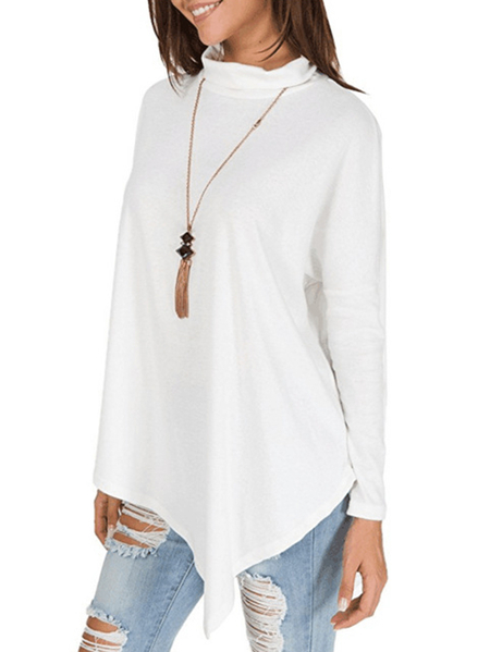 Yoins White Roll Neck Long Sleeves T-shirt
