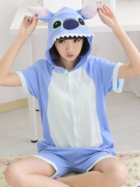 Milanoo Kigurumi Pajamas Stitch Onesie Blue Short Unisex Summer Sleepwear Animal For Adults Costume Halloween
