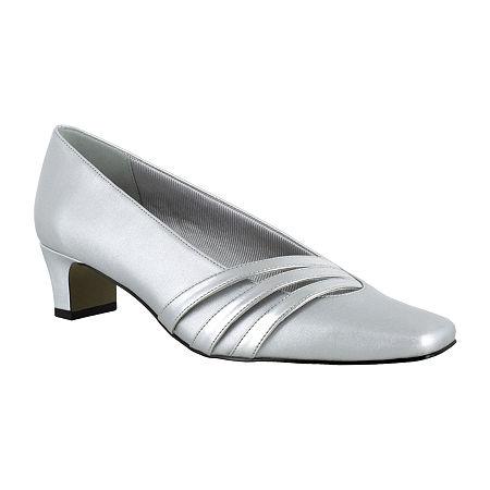 Easy Street Womens Entice Pumps Spike Heel, 7 Medium, Silver