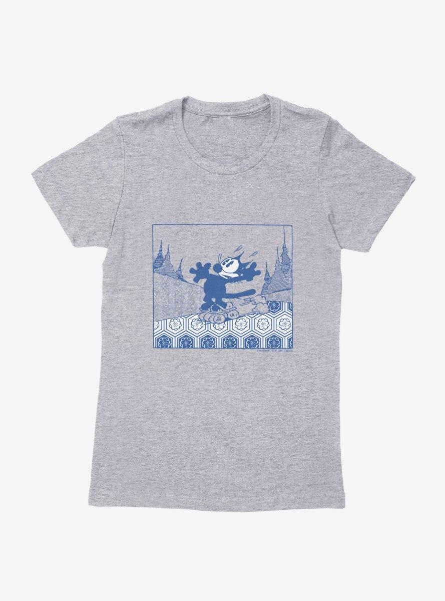 Felix The Cat Skateboarding Womens T-Shirt