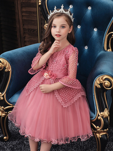 Milanoo Flower Girl Dresses Jewel Neck Polyester Cotton 3/4 Length Sleeves Knee Length Princess Silhouette Flowers Formal Kids Pageant Dresses