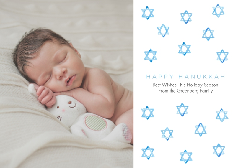 Holiday Photo Cards 5x7 Cards, Premium Cardstock 120lb with Scalloped Corners, Card & Stationery -One Hanukkah Wish