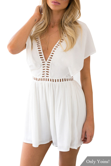 Yoins White V-neck Hollow Out Playsuit