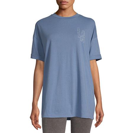 Flirtitude-Juniors Womens Crew Neck Short Sleeve Graphic T-Shirt, Medium , Blue
