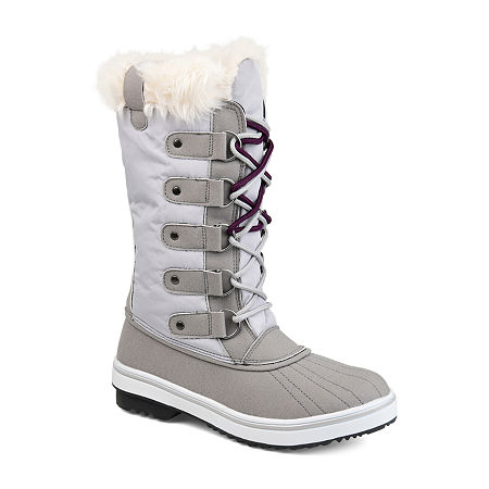 Journee Collection Womens Frost Water Resistant Block Heel Lace-up Snow Boots, 10 Medium, Gray