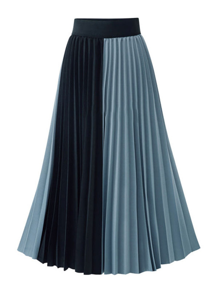 Milanoo Chiffon Pleated Skirt Two Tone Women Swing Skirt