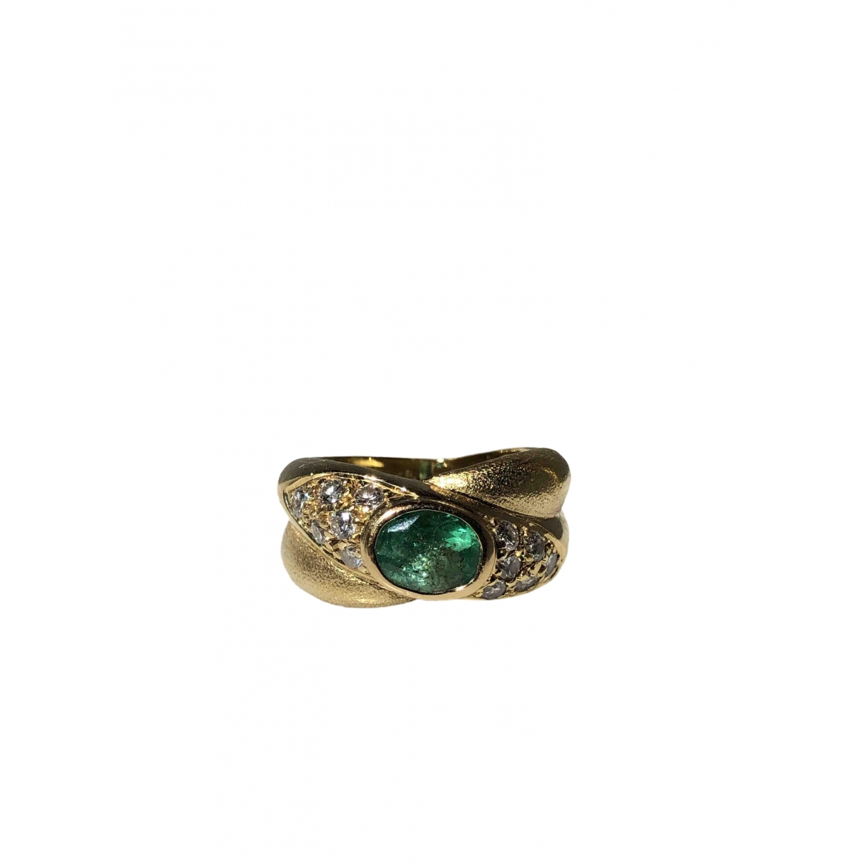 Non Signé / Unsigned Emeraude Green Yellow gold ring for Women 50 EU
