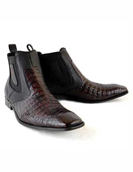 Men's Square Black Cherry Leather Original Crocodile Skin Short Boots