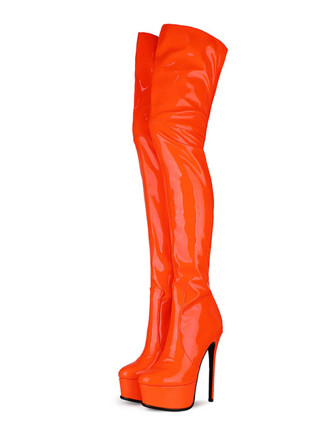 Milanoo Over The Knee Boots PU Leather Platform Round Toe Zip Up High Heel Thigh High Boots