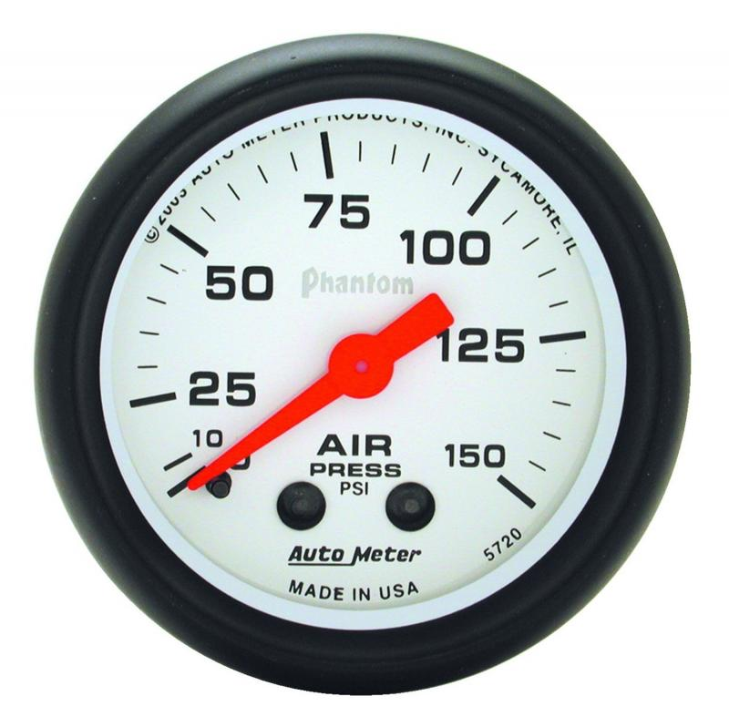 AutoMeter GAUGE; AIR PRESS; 2 1/16in.; 150PSI; MECHANICAL; PHANTOM