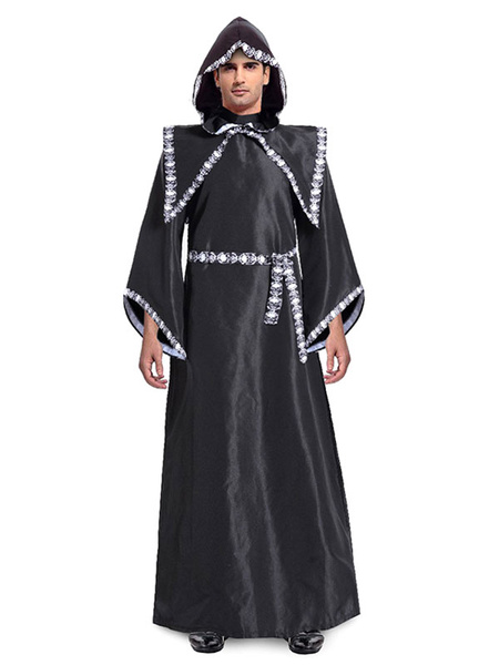 Milanoo Halloween Costume Men Movie Character Black Gowns Outfit 3 Pieces