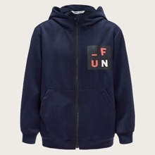 Boys Letter Graphic Hooded Jacket