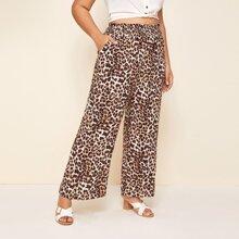 Plus Shirred Waistband Wide Leg Leopard Pants