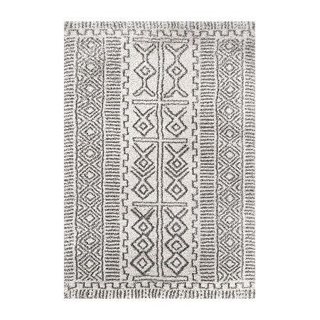 nuLoom Hurley Tribal Shaggy Rectangular Rug, One Size , White