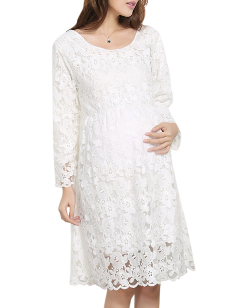 Lace Maternity Dresses Cotton Comfy Long Sleeve Maternity Pregnant Dress Pregnancy Clothing
